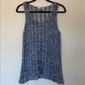 Eileen Fisher knitted tank blue wht Sz M ?